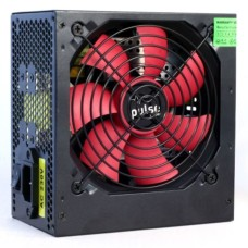 Pulse 500W PSU ATX 12V Active PFC 2 x SATA 120mm Silent Red Fan Black Casing