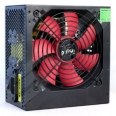 Pulse 650W PSU ATX 12V Active PFC 4 x SATA PCIe 120mm Silent Red Fan Black Casing
