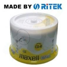 Maxell 52x RITEK White Full Face Inkjet Printable CD-R in Packs of 50