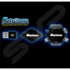 Mobycharge Mobile Phone Retractable Charging and Data Lead 6 Connectors in 1 USB iPhone4 ,4S iPad Micro USB