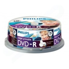 PHILIPS DVD-R 120 MIN VIDEO 4.7GB 16X SPEED INKJET PRINTABLE BLANK DISC- 25 PACK