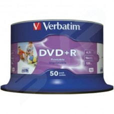 Verbatim 43651 DVD+R Wide Inkjet Printable ID Brand 16x 4.7GB - Pack Of 50