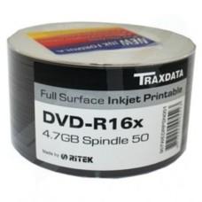Traxdata Ritek 16x DVD-R White Full Face Printable 50 Pack