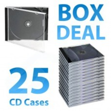 10.4mm Jewel Case for Standard Single CD Clear with Black Tray - Box of 25