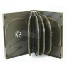 10 Way 33mm Black DVD CD Cases With 4 Trays - MULTI