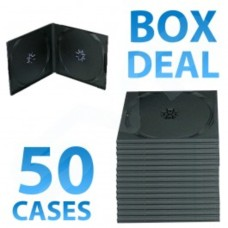 50x Half Height Black Double CD DVD Case - 10MM