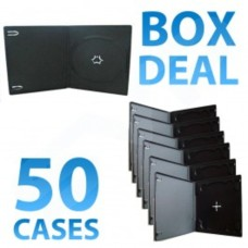 50x Half Height Black Single CD DVD Case - 10MM
