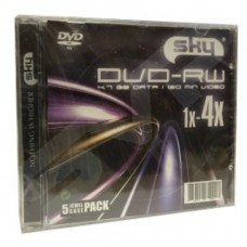Sky DVD-RW Branded DVD-RW 4x 4.7GB / 120 Minutes Blank Discs 5 Pack in Jewel Case