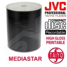 JVC Taiyo Yuden 700MB 80 Minute High Gloss White Inkjet Hub Printable CD-R - 100-Disc Pack