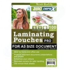 Zero Defex Pro A3 Gloss Laminating Pouches (250 Micron) - 100 Sheets