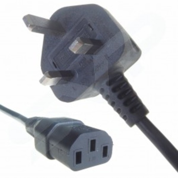 0 5m Mains Cable Moulded 3 Pin Plug To Iec C13 Socket