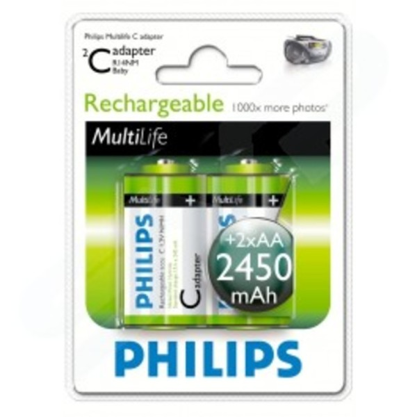 Philips Multi Life Rechargeable Battery C Adapter 2450 MAh 2x AA Batteries