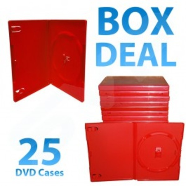 25x 14mm red single dvd storage case with clear outer sleeve